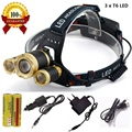 10000LM LED rechargeable zoom headlamp 3 x XML T6 LED head flashlight torch lamp waterproof lights 3T6 headlight 18650 battery