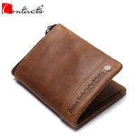 CONTACT S Men S RFID Blocking Bifold Genuine Leather Zipper Wallet Vintage Brand New Cowhide Purse