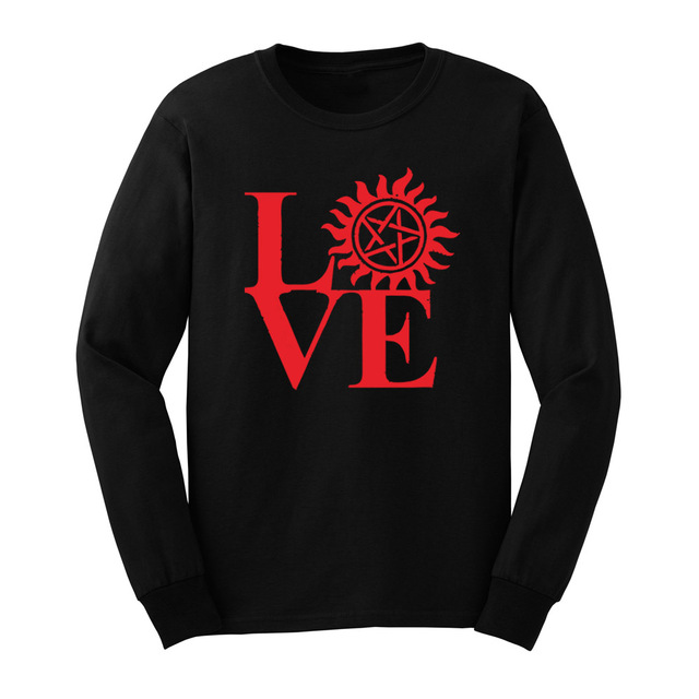 f20b19a4 Loo Show Mens Love Huntinger Supernatural Long Sleeve T-Shirts Casual Men  Tee