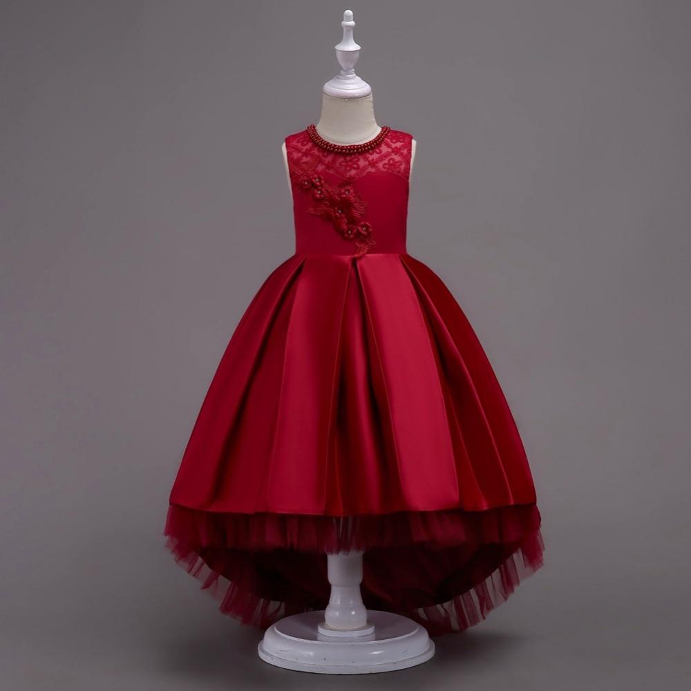 Girls Embroidery Bow Sleeveless Dress XXXL Slim Fit Fat Teen Girl Christmas Party Dress Red Wine Children High-grade Clothing 2015 100% slim fit xxxl camisa masculina 1212