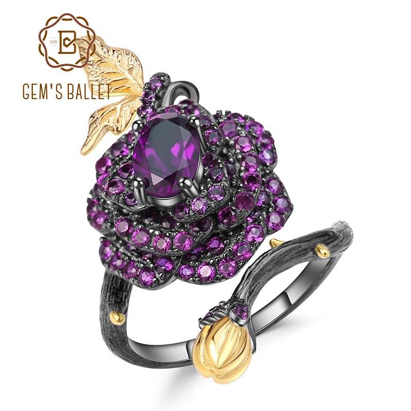 GEM'S BALLET 0.81Ct Natural Amethyst Rose Flower Ring 925 Sterling Silver Handmade Design Adjustable Open Rings for Women Bijoux