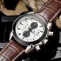Megir cronógrafo de pulsera deportivo de cuero de moda reloj de cuarzo para hombre militar relojes de los hombres del estilo del ejército 2020 envío gratis