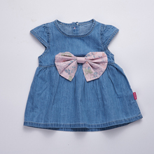 Baby girls dress 2017 kids sunny dress denim baby summer dresses for girls  baby princess dresses with bow infant girl clothes
