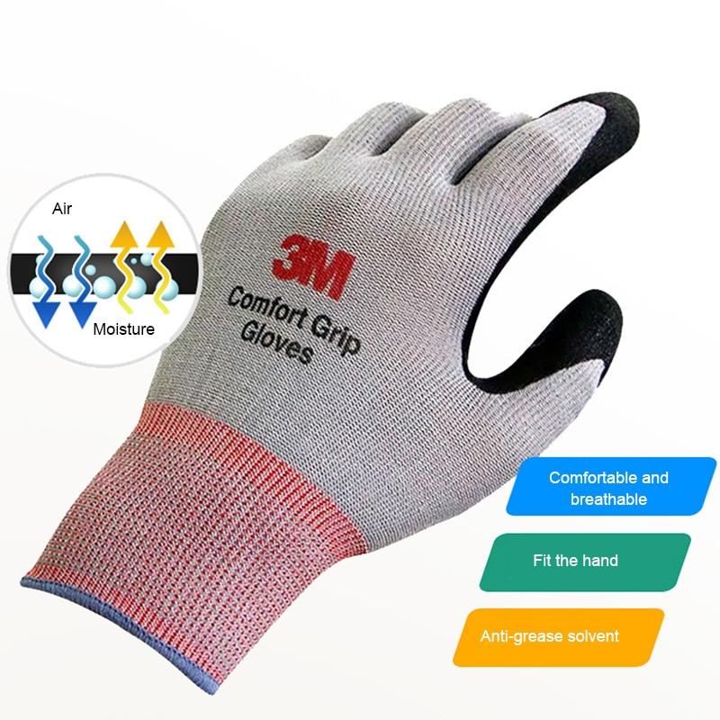 1pair 3m Work Gloves Comfort Grip Wear-resistant Thick Slip-resistant Gloves Anti-labor Safety Gloves Nitrile Rubber Gloves