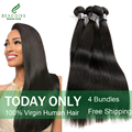 7A Brazilian Virgin Hair Straight 4pcs Brazilian Straight Hair Silky Straight Brazilian Hair Weave Bundles 100% Human Hair Weave
