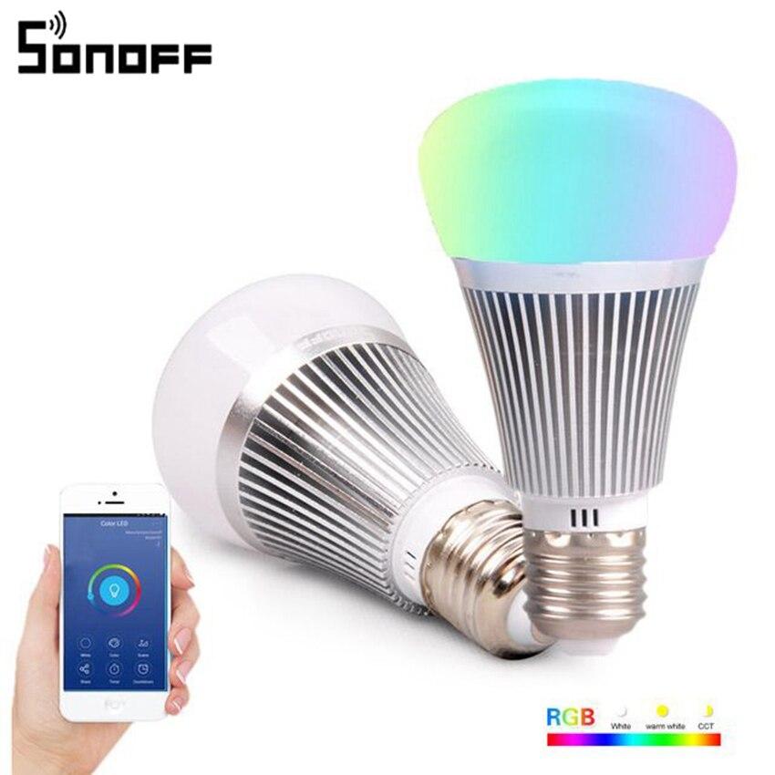 Sonoff B1 Smart Wifi Lampe E27 LED Lampe RGB Gradateur Coloré Lumière APP WIFI Télécommande Via IOS Android pour maison intelligente Wifi