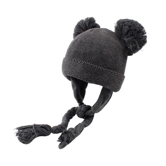 Aliexpress.com: Comprar Bebé de punto sombrero para las muchachas caliente  terciopelo gorrita tejida Twist Lace Up bebé sombrero con pompón lindo ...