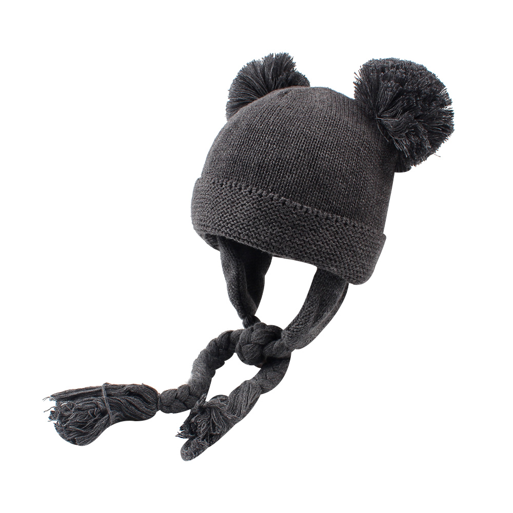 Knit Baby Hat For Girls Warm Velvet Infant Beanie Twist Lace Up Baby Hat With Pompom Cute Crochet Winter Hat Baby Boy Clothing