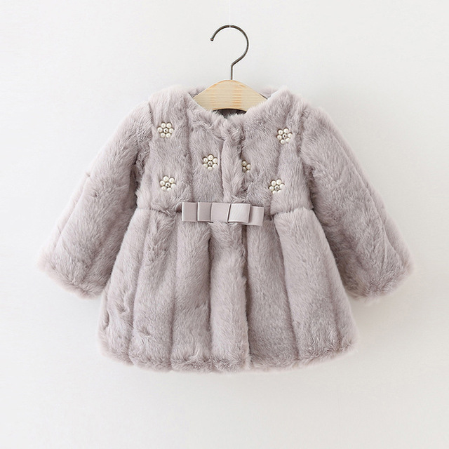 Winter Baby Girls Faux Fur Fleece Coat Party Pageant Warm Jacket Xmas Snowsuit Baby Outerwear Children Clothes