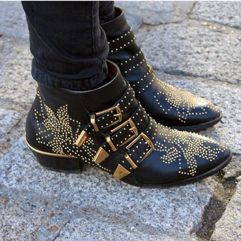 New Fashion Week Black Leather Rivets Booties Buckle Straps Thick Heel Black Ankle Boots Studded Decorated Motorcycle Boots