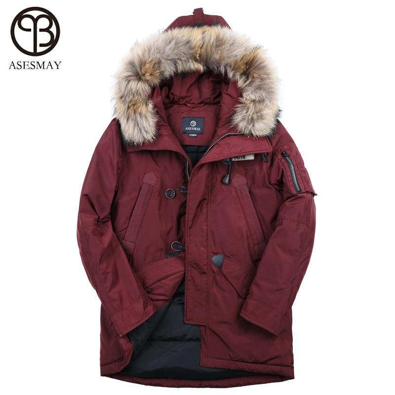 Asesmay marque 90% blanc canard hommes vers le bas veste hommes d'hiver de manteau chaud épais plume d'oie hoodies col de fourrure occasionnel hiver vestes
