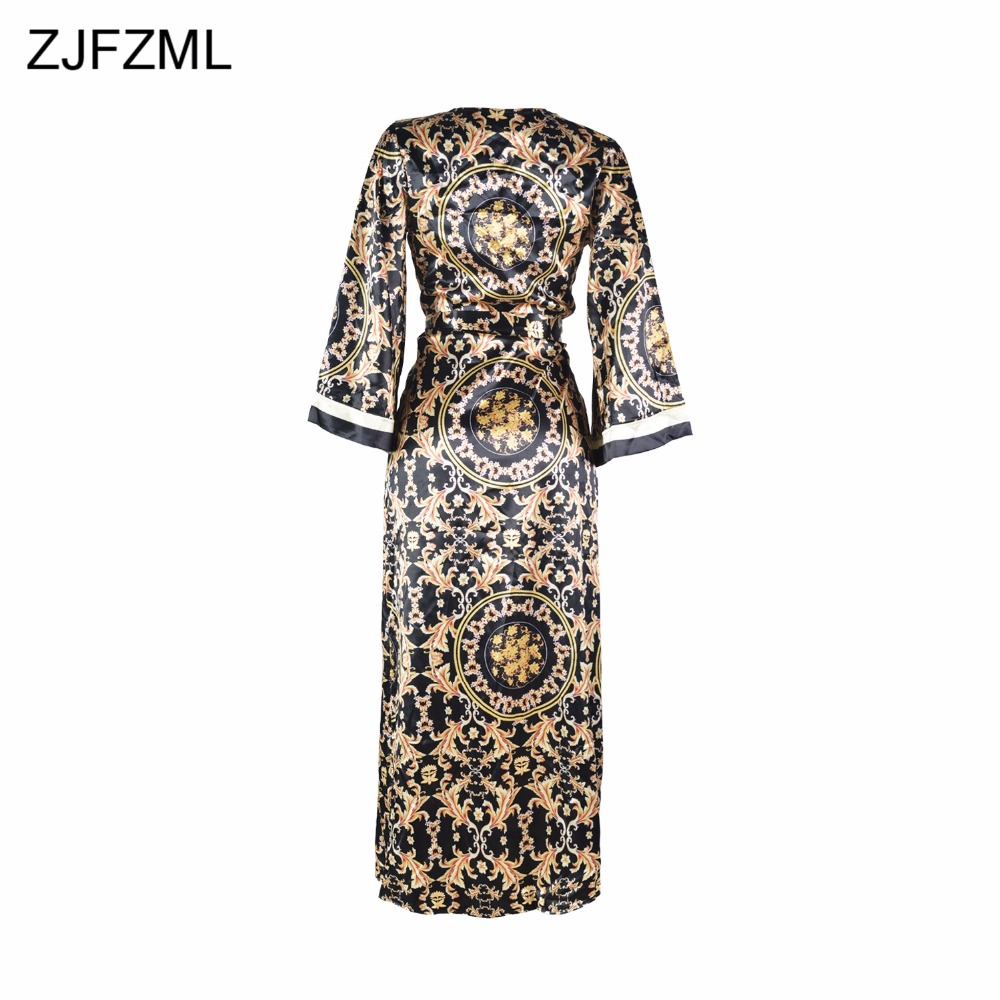 ZJFZML Hot fashion design 2018 sexy 2 pieces women sets v-neck sexy print rompers and novelty beach wear long maxi coat