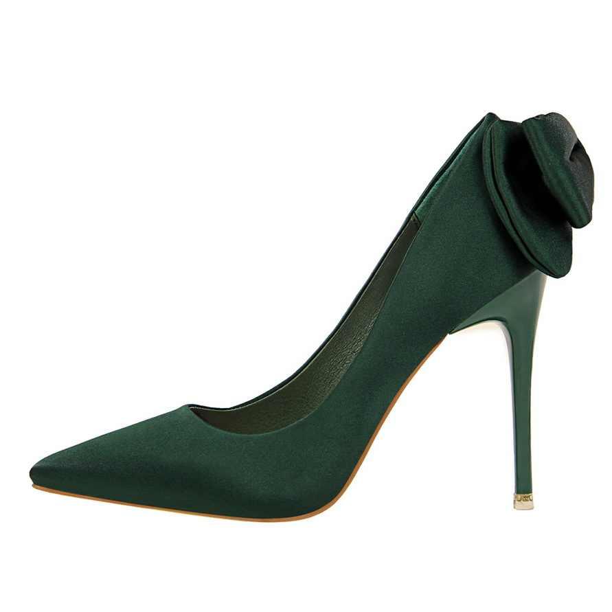 12b76cc24d ... BIGTREE 2018 Women Luxury 10cm High Heels Bridal Butterfly-knot Satin  Pumps Ladies Blue Pink ...