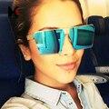 SHAUNA Moda Polarizada Mulheres óculos de Lente Reflexiva Óculos De Sol Rosa Espelho Revestimento Dos Homens Populares Flat Top Óculos Quadrados