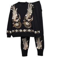 Sequin Bedding Sets Women Pullovers Trousers Spring Long Sleeve Knit Sweater Tops Knitted Harem Pants 2 Pieces Sets Tracksuits