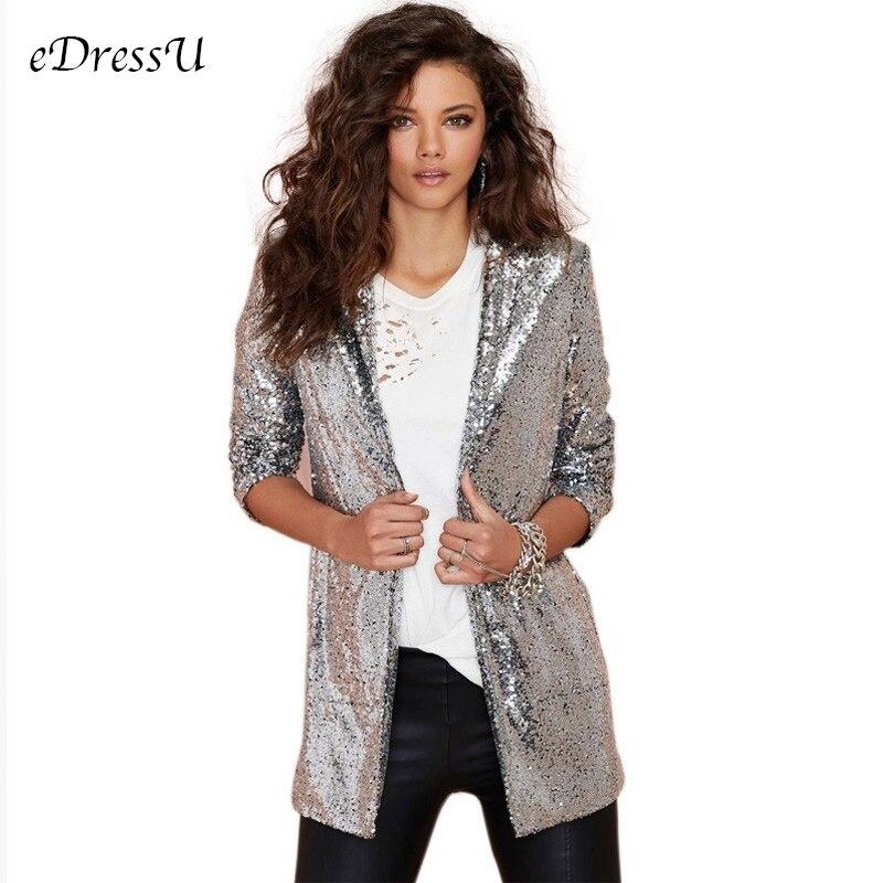 2019 femmes paillettes veste mode fête Blazer tenue de club scène costume argent noir or rouge tapis manteau eDressU HX-0616