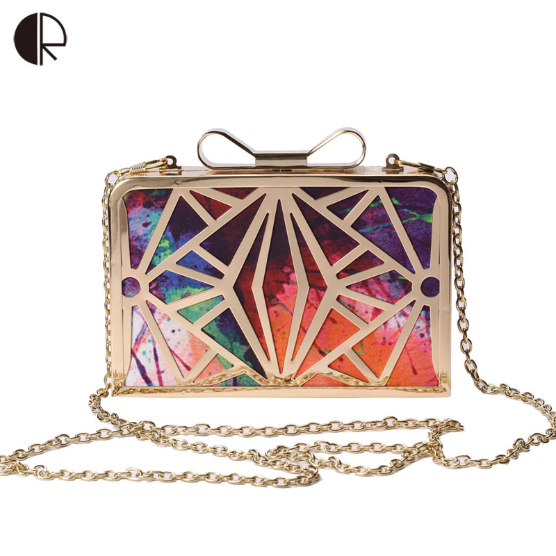 2019 New Fashion Women Handbags Metal Patchwork Shinning Shoulder Bags Ladies Print Day Clutch Wedding Party Evening Bags bh507(China)
