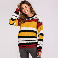 Women Knitted Sweater Colorful Striped christmas sweater Round Neck Long Sleeve Ribbed Oversized Casual Baggy Pullover female
