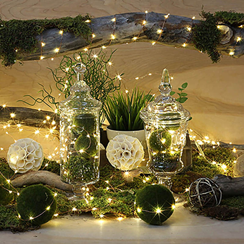 LED Starry Lights Fairy Lights Holiday Light Copper LED Lights Strings Button Battery Powered Ultra Thin String Wire