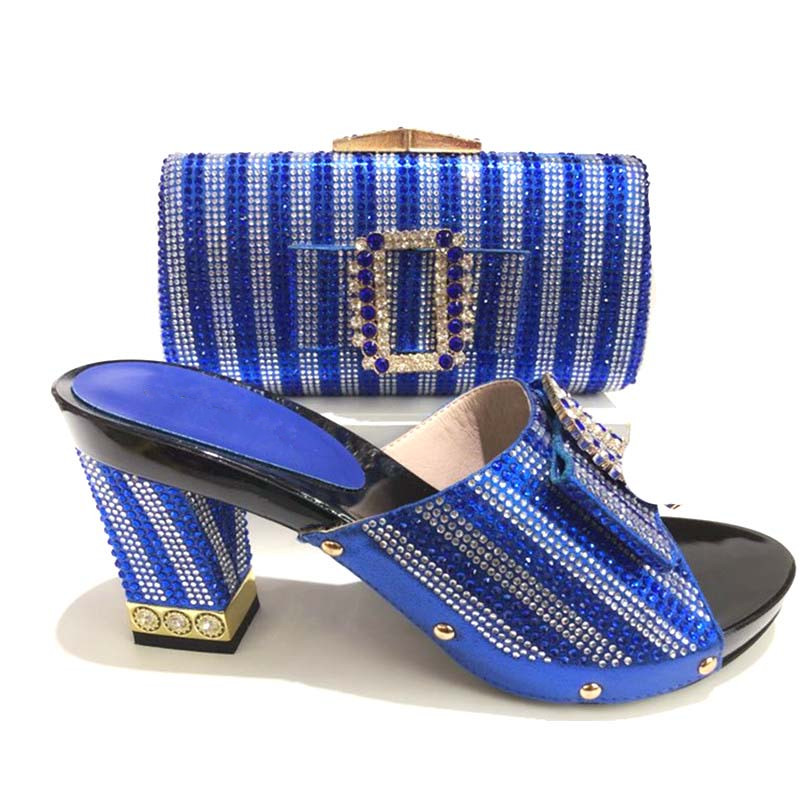 227-3 blue Color Italian Shoes With Matching Bag Set Decorated With Rhinestone African Wedding Shoe And Bag Set Italy Shoes doershow african women matching italian red color shoes and bag set decorated with rhinestone italian ladies shoe and bag sab1 2