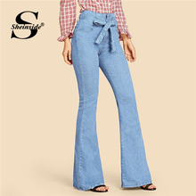 Sheinside Blue Vintage Flare Leg Jeans Women 2019 Spring High Waist Belted Denim Pants Ladies Solid Stretchy Zip Up Trousers