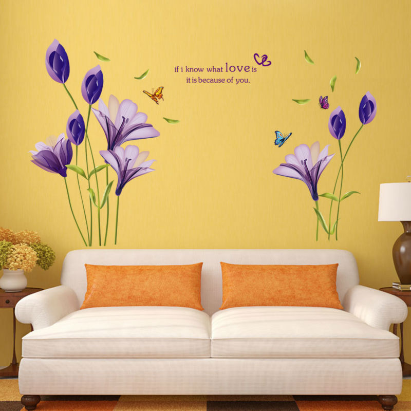 Purple Pollen Removable Wall Art Decal Sticker Diy Home: K61 DIY Purple Lily Flowers Home Decor Elegant Flower Wall