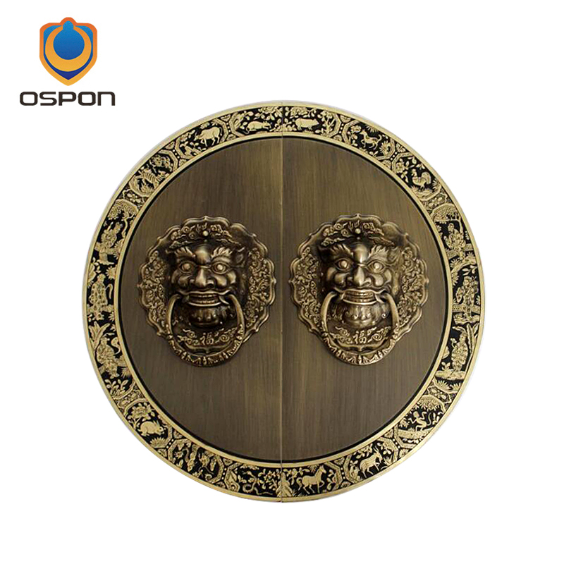 Chinese antique copper gate lion head handle pull ring town house burglar head handle solid wood door handle door ring china brass copper fengshui guardian town house evil foo dog lion statue pair