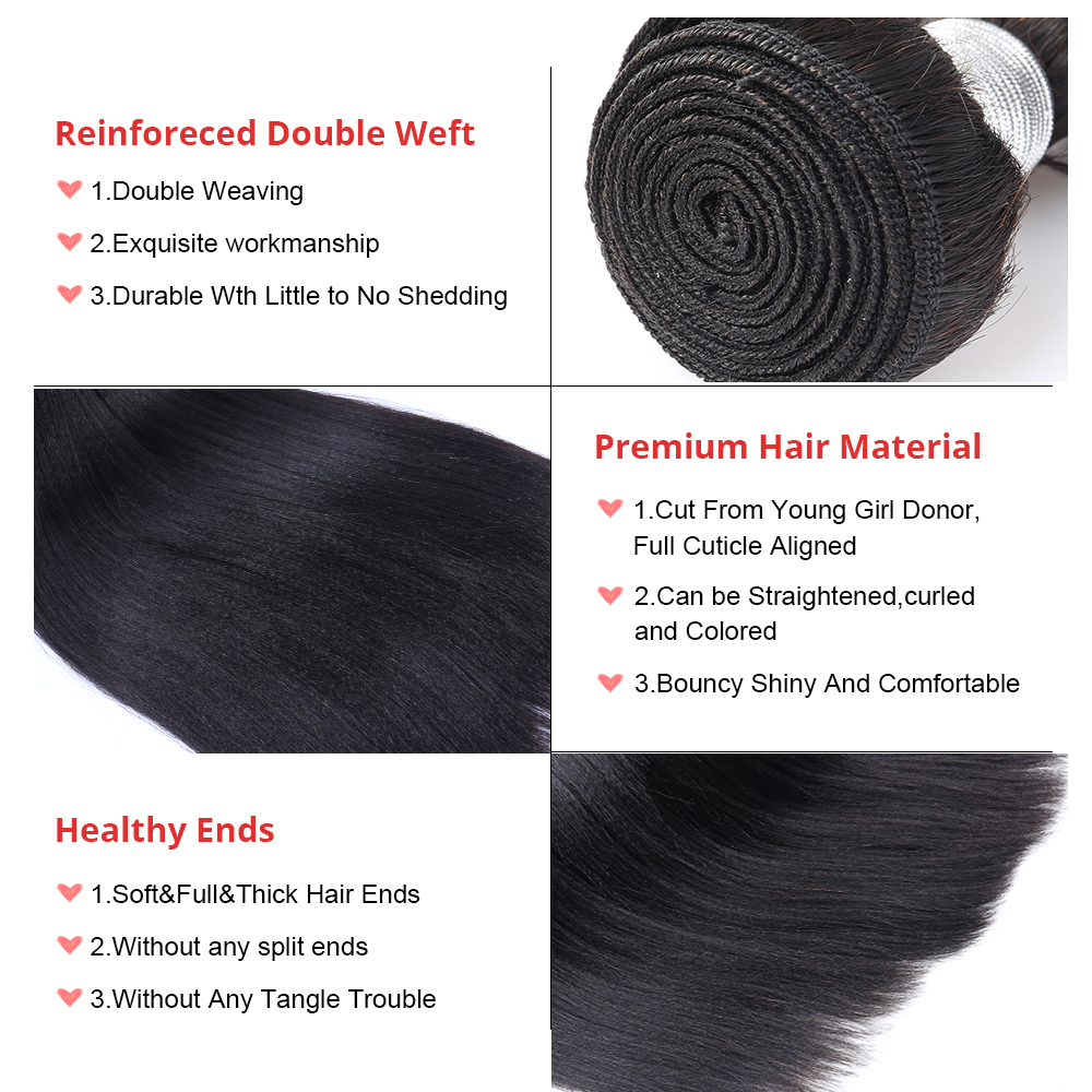 Image 5 - Yaki Human Hair Brazilian Hair Weave Bundles 3 Light Yaki Straight Hair Extensions 1 Piece Dolago Remy Human Hair Products-in Hair Weaves from Hair Extensions & Wigs