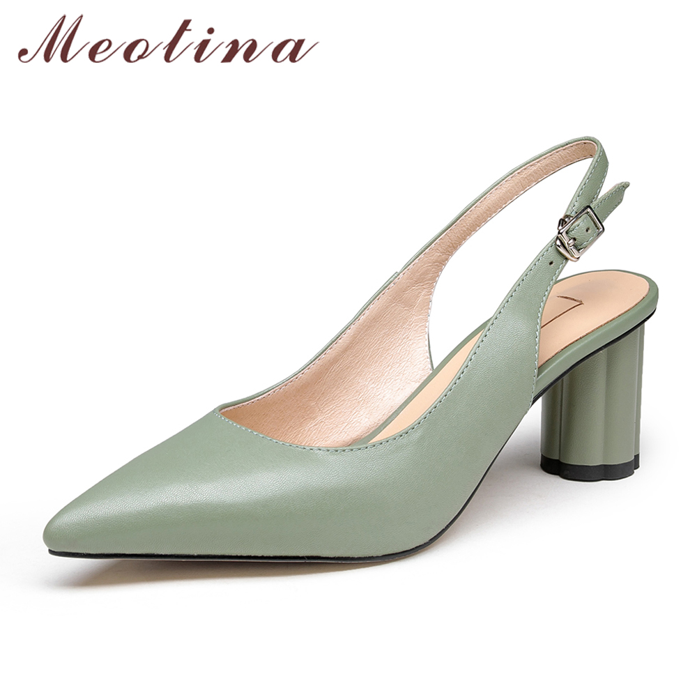 Meotina Women Pumps High Heels Natural Sheepskin Thick High Heels Shoes Buckle Genuine Leather Pointed Toe