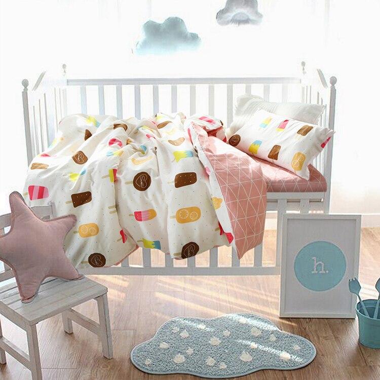 Baby crib bedding set 100% cotton baby bedding set gray clouds design including duvet cover flat sheet pillowcase