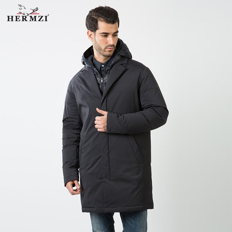 HERMZI 2019 Jacket Men Winter Cotton Padded Coat Parka Men Winter Thick Warm Long Jacket Russian Size Winter Wear Mens Coat
