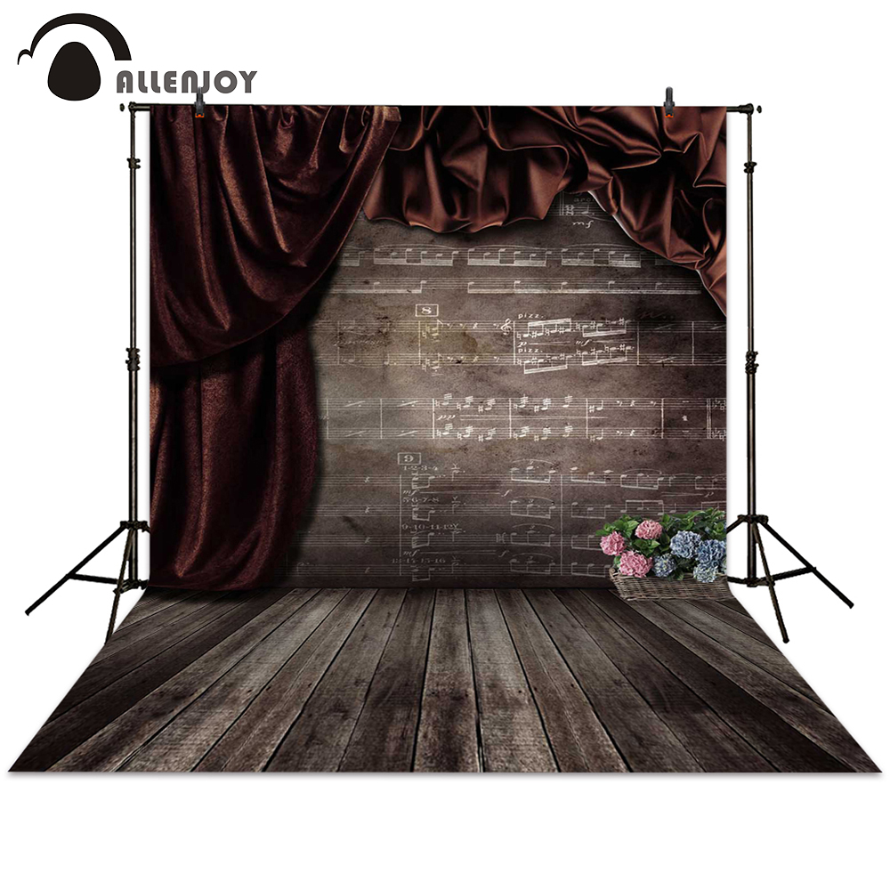 Allenjoy background retro photo studio music curtain flower brown backdrops photocall photographic photography