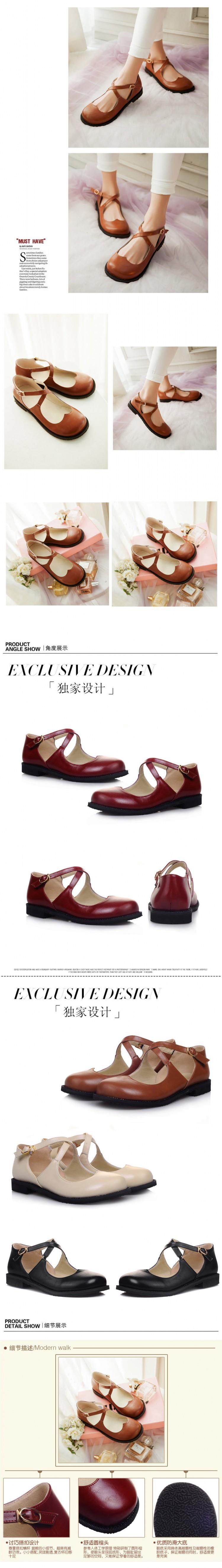 New Style Vintage Round Toe Mary Jane Flat Shoes For Woman Low-Heel Sweet  Cute Doll Shoes Lolita Loafers Boat Shoes Big Size 43USD 43.66-47.66 pair 9484887201c7