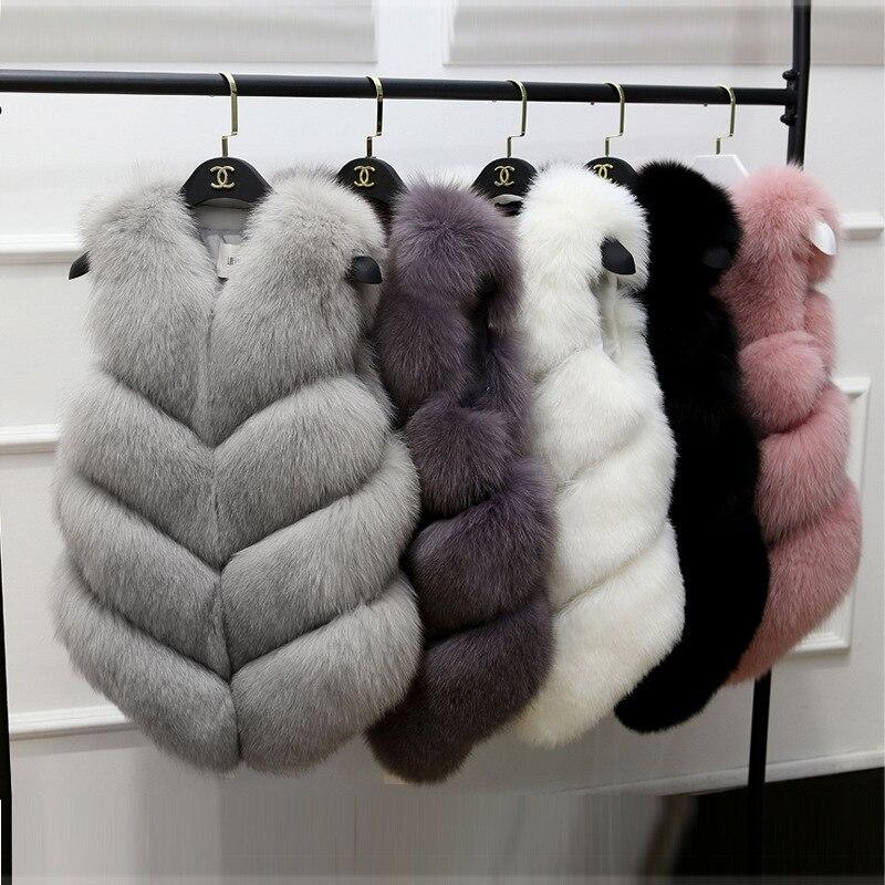 Faux Fur Coat 2018 Casual Warm Slim Sleeveless Faux Fox Fur Vest Winter Faux Fur Coats
