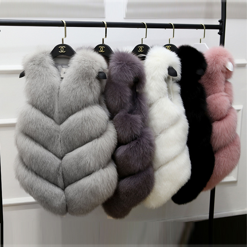 Faux Fur Coat 2019 Casual Warm Slim Sleeveless Faux Fox Fur Vest Winter Faux Fur Coats Women Pink Fur Jacket J205