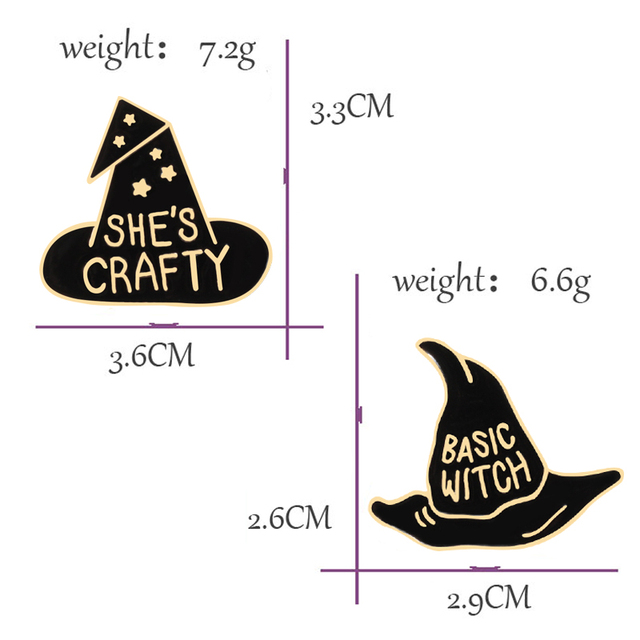 2 Pce Black Witch Hat Pin Brooches