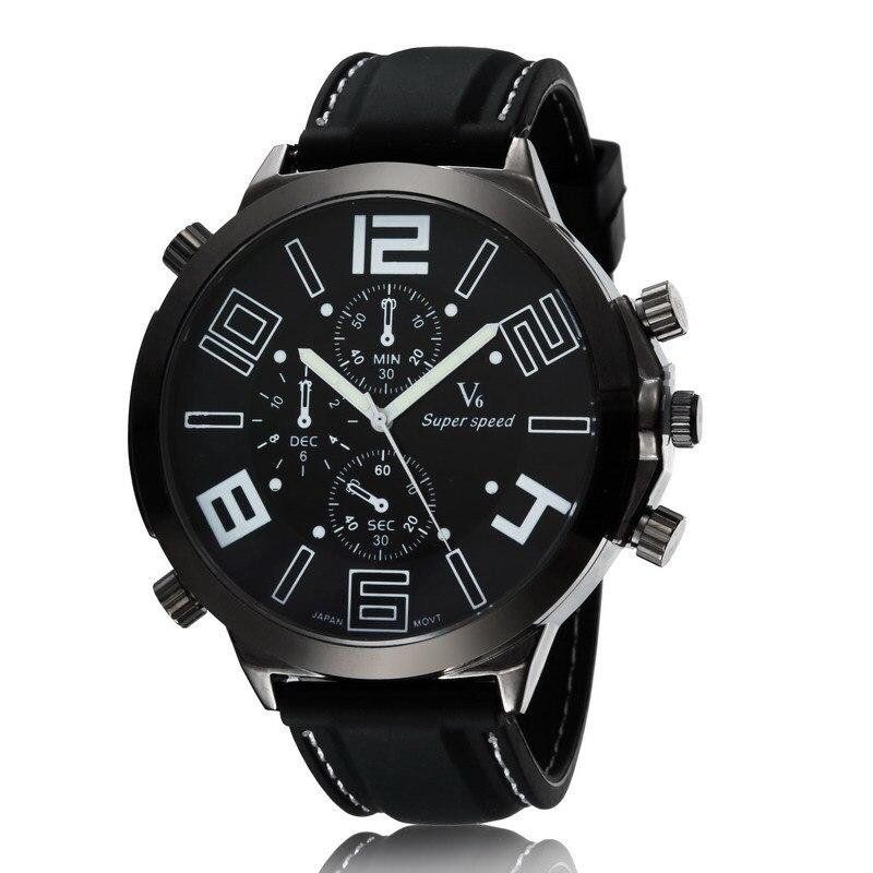 V6 Fashion Men Sports Watches Quartz Wristwatch Analog Men Luxury Brand Large Dial Silicone Strap Relogio Masculino Gifts