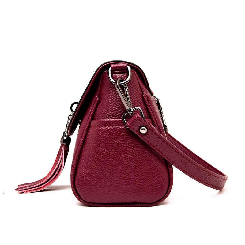 Señoras diseño de borla Clutch Bag mujeres PU cuero bandolera cruzada vestido pequeño hombro bolsos cierre bolso bolsos