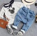 3-9Y nuevo 2016 de otoño de la alta calidad de los muchachos de moda tenedor grande jeans niños niños de los pantalones vaqueros niños pantalones de mezclilla