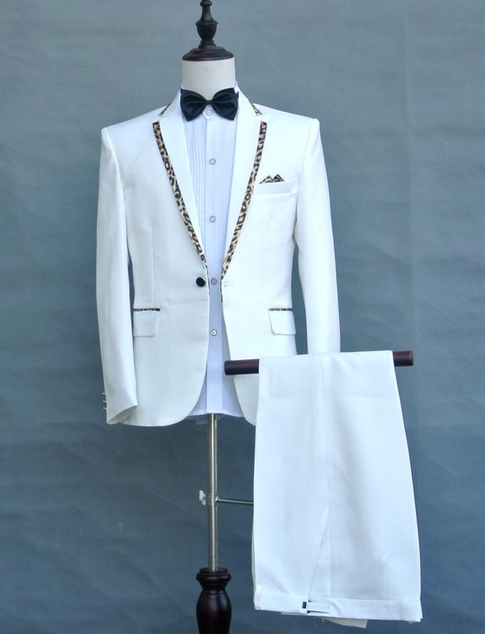 Blanc Refrain Scène Costume Formelle A Pantalon Des black De Chanteur Performance Vêtements B Léopard B Bal veste Mâle Collier White Cravate Hôte white Costumes Noir Hommes qt0wPwOT