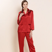 CEARPION 2020 New Women Pajamas Set Chinese Red Bride Wedding Party Nightdress Embroidery Floral 2pcs Shirt&pant Home Clothes
