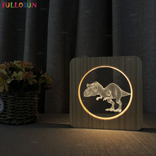 3D Dinosaur Night Light LED Warm Color Wooden Lamp Switch Button Bedside for Baby Christmas Present