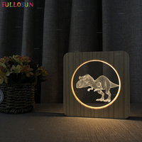 3D Dinosaur Night Light LED Warm Color Wooden Lamp Switch Button Bedside Lamp for Baby Christmas Present