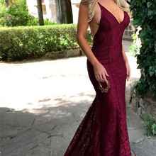 Burgendy 2019 Prom Dresses Mermaid Deep V neck Lace Backless Sexy Party Maxys Long Prom Gown