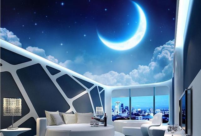3d decke wandbilder benutzerdefinierte tapete Sterne Mond decke 3d ...