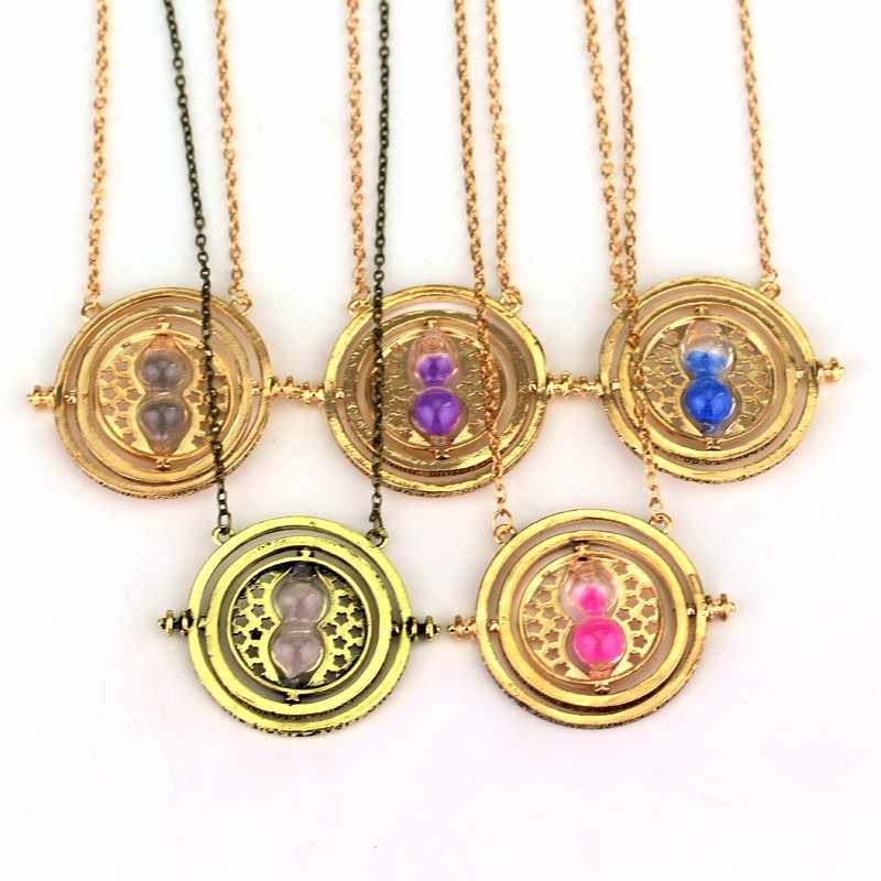 dongsheng 10Pcs a lot Hermione Granger Rotating Time Turner HP Necklace Gold/silver color Hourglass for Women Men Movie Jewelry