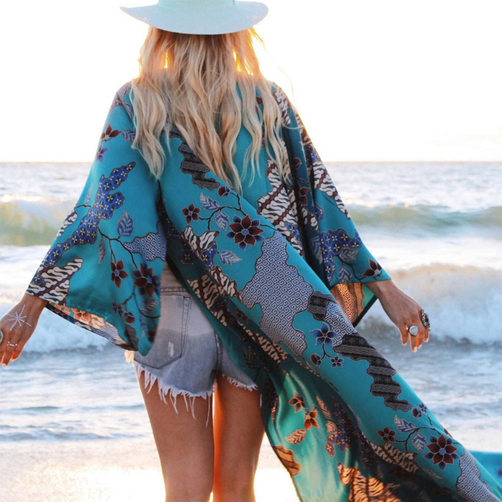 Women 2018 Vintage Retro Floral Print Green Color Long Design Kimono Coat Jacket Long Sleeve Cardigan Maxi Shawl Tops in Blouses amp Shirts from Women 39 s Clothing