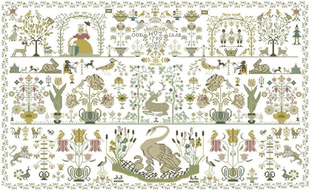 Automne forêt paradis point de croix paquet 18ct 14ct 11ct blanc tissu coton soie fil broderie couture à la main travaux manuels-in Paquet from Maison & Animalerie    1