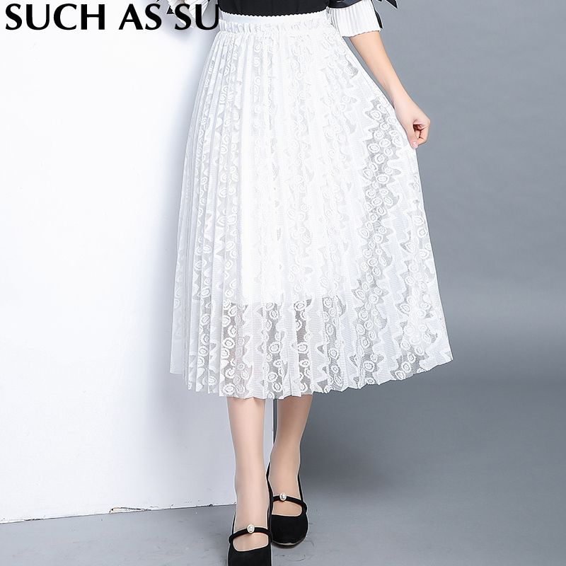 5f348510de4a Nouvelle Coréen Style Jupe Plissée Femmes Patchwork Haute Taille Élastique Mi  Longue Jupe Dames Sexy Noir Blanc Jupe En Dentelle dans Jupes de Mode Femme  et ...