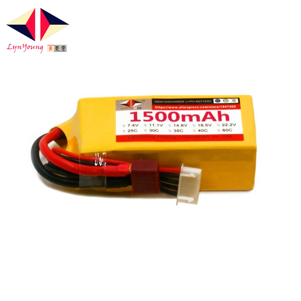 LYNYOUNG <font><b>Lipo</b></font> RC battery30C <font><b>4S</b></font> <font><b>1500mAh</b></font> 14.8V for Racing Car Drones Helicopter Quadcopter UAV plane image